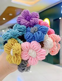 Fashion Navy Blue Knitted Color Children S Hair Rope With Woolen Flowers
