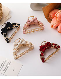Fashion Pink Bowknot Chain Alloy Geometric Clamp
