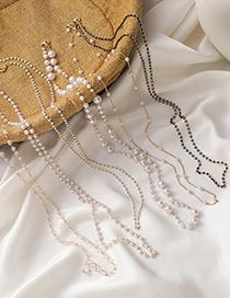 Fashion Pearl Chain Clause Pearl Crystal Beaded Necklace