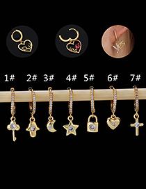 Fashion 1#gold Color Copper Inlaid Zircon Key Earrings (1pcs)