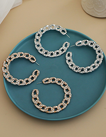 Fashion Silver Color Alloy Diamond Chain Earrings