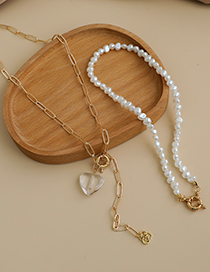 Fashion Gold Color Alloy Chain Resin Love Pearl Double Necklace  Alloy