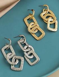 Fashion Gold Color Alloy Concave Convex Chain Earrings  Alloy
