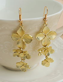Fashion Gold Color Alloy Flower Earrings  Alloy