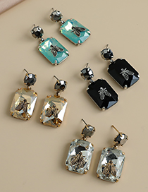 Fashion Green Alloy Diamond Square Insect Earrings