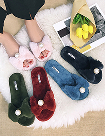 Fashion Black Plush Bow And Pearl One-word Cotton Slippers