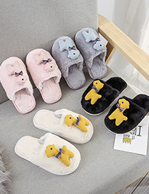 Fashion Black Plush Deer Baotou Children S Slippers