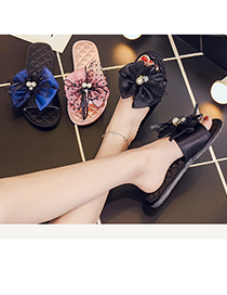 Fashion Black Lace Bowknot Silk Soft Bottom Breathable Slippers