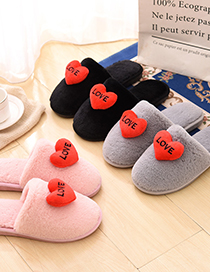 Fashion Black Love Letters Home Slippers Indoor Plush Slippers