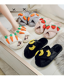 Fashion Black Banana Fruit Cross Plush Flat Slippers
