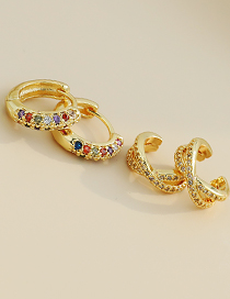 Fashion Golden Copper Inlaid Zircon Cross Ear Bone Clip