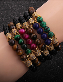 Fashion Lapis Lazuli 8mm Tiger Eye Malachite Lapis Lazuli Diamond Crown Men S Bracelet