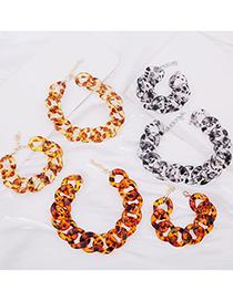 Pulsera De Collar De Aleación De Cadena Gruesa Acrílica Con Estampado De Leopardo