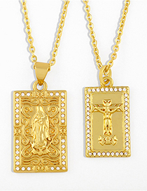 Fashion Our Lady Gold-plated And Diamond Virgin Mary Cross Pendant Necklace