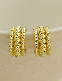 Fashion Gold Color Alloy Braided Geometric Stud Earrings