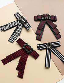 Fashion Black Fabric Embroidery Diamond Flower Bow Tie Brooch