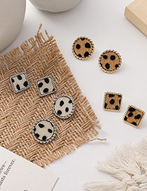 Fashion Brown (square) Leopard Print Round Button Alloy Geometric Earrings