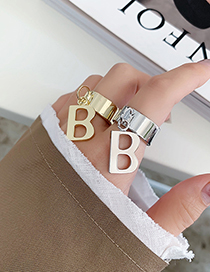 Fashion Gold Color Letter Alloy Hollow Wide Edge Ring