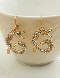 Fashion Gold Color Alloy Diamond Dragon Earrings