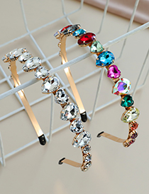 Fashion Color Alloy Water Drop Love Diamond Headband