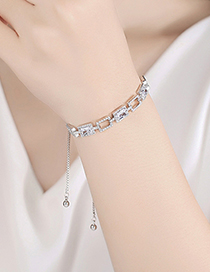 Fashion Gold Geometric Copper Inlaid Zircon Pull-out Bracelet