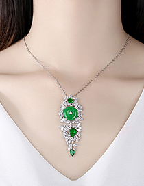 Fashion Platinum Geometric Long Necklace With Green Chalcedony And Copper Inlaid Zircon