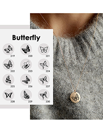 Fashion Steel Color -219 Butterfly Hollow Stainless Steel Round Necklace (15mm)