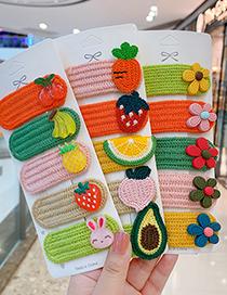 Fashion Cake Series [5 Piece Set] Fruit Wool Knitting Contrast Color Geometric Children Hairpin