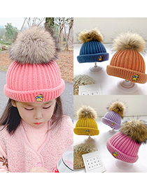 Fashion Blue 0-4 Years Old One Size Knitted Woolen Yellow Man Embroidery Childrens Hat