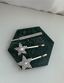 Fashion Big Five-pointed Star And Small Pearl Diamond-studded Pearl Five-pointed Star Alloy Hairpin