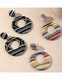 Fashion Black And White Hollow Fabric Geometric Alloy Earrings