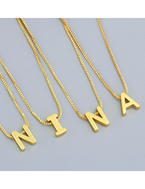 Fashion Chain (without Letters) Thin Chain Letter Glossy Pendant Necklace