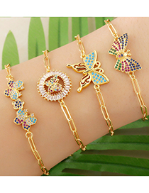 Fashion Type A Butterfly Micro-inlaid Zircon And Gold-plated Copper Bracelet