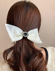 Fashion Creamy-white Alloy Hairpin With Bow And Diamond Flower