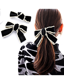 Fashion Beige Wear Bead Bow Hairpin Handmade Beaded Ribbon Bow Knotted Hairpin