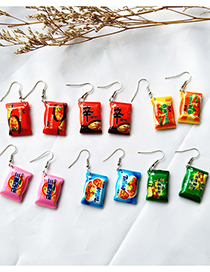 Fashion Korean Shin Ramen Instant Noodle Simulation Toffee Resin Earrings
