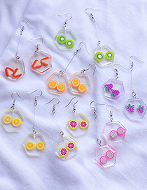 Fashion Strawberry Patch Fruit Transparent Acrylic Asymmetric Earrings
