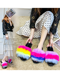 Fashion Yellow Color Flat Heel One Word Contrast Plush Slippers