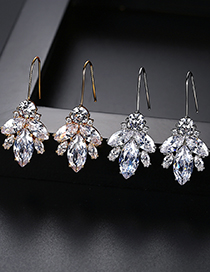 Fashion Champagne Gold Copper Inlaid Zircon Leaf Earrings