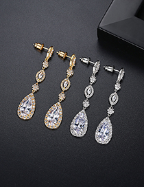 Fashion 18k Copper Inlaid Zircon Long Drop Earrings