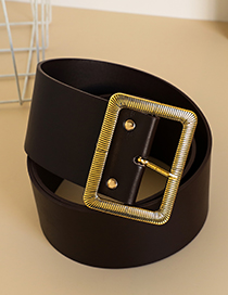 Fashion Brown Alloy Pu Square Head Belt