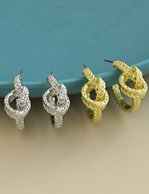Fashion Golden Alloy Braided Knotted Earrings