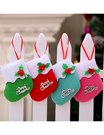 Fashion Green Christmas Letters Contrast Color Christmas Socks