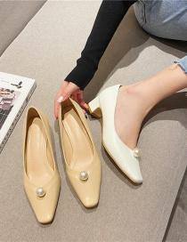 Fashion Khaki Block Heel Square Toe Shallow Mouth Mid-heel Pearl Shoes