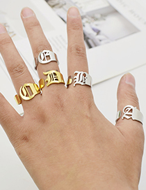 Fashion Gold Color Q Ancient English Letter Hollowed Titanium Steel Ring