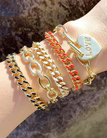 Fashion Green Dripping Oil Thick Chain Gold-plated Copper Bracelet