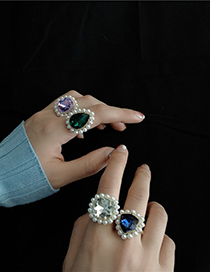 Fashion Water Drop Green Diamond Gold-plated Gemstone And Pearl Geometric Open Ring