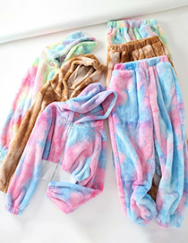 Fashion Yellow Pink Blue Tie-dyed Plush Hooded Sweatshirt And Waistband Pants Suit