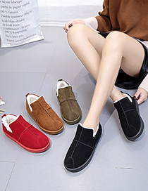 Fashion Red Low Cut Plus Velvet Padded Flat Round Toe Snow Boots