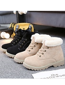 Fashion Black Plus Velvet Round Toe Thick Heel Lace Up Snow Boots